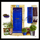 """Porte bleue"" - encres et craie grasse © Natacha Latappy - Reproduction interdite"